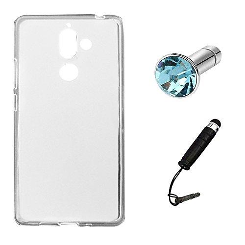Lusee Funda de silicona para Nokia 7 Plus 6.0 Suave Cascara TPU Blanco Blanco