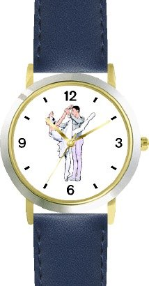 Ballerina and Ballet Dancer Couple No.2 - WATCHBUDDY DELUXE TWO-TONE THEME WATCH - Arabic Numbers - Blue Leather Strap-Children's Size-Small ( Boy's Size & Girl's Size ) by WatchBuddy