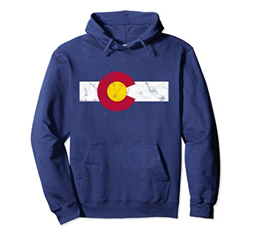 Colorado Flag Hoodie Sweatshirt vintage Distressed (Distressed Vintage Sweatshirt)