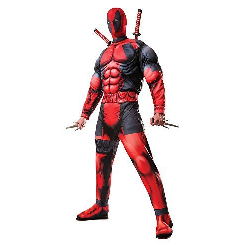[Rubie's Costume Co. Men's Classic Fiber-Filled Muscle Chest Deadpool, Red, X-Small] (Classic Halloween Costumes 2016)