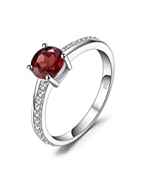JewelryPalace Classic Round 1.3ct Red Genuine Garnet White Topaz Solitaire Engagement Ring 925 Sterling Silver