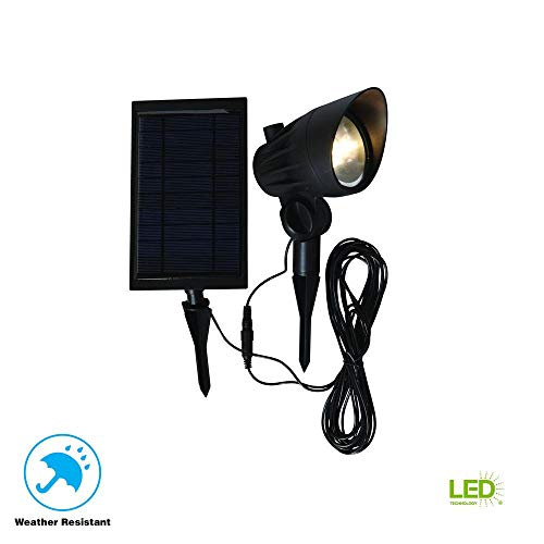 Hampton Bay Solar Black LED Outdoor Spotlight (Solar Bay Hampton)