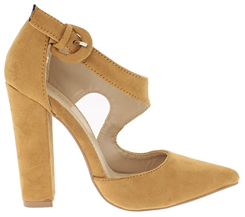 Shoe Republic Asymmetrical D'Orsay Pump with Chunky Heel Chelly (Mocha (Asymmetrical Pumps)