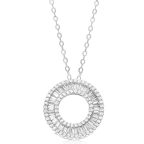 (LESA MICHELE Cubic Zirconia Open Circle Necklace for Women in 925 Sterling Silver)