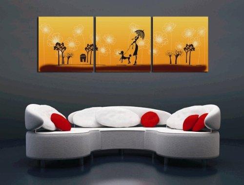 3 Paneles de arte abstracto Foto decoracion del hogar Pintura Lienzo Imprimir Enmarcado arte de la pared, listo para colgar Cada 50 * 50 # 01-YM-90041ABC