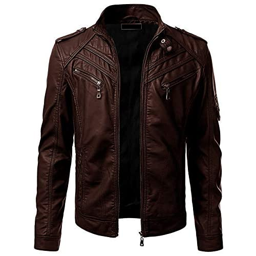 41cXEzVNEQL. SS500  - Blaq Ash Men's Faux Leather Biker Outerwear Jacket