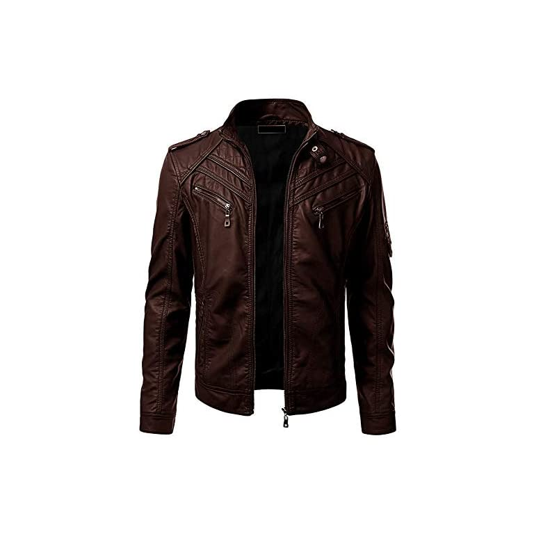41cXEzVNEQL. SS768  - Blaq Ash Men's Faux Leather Biker Outerwear Jacket