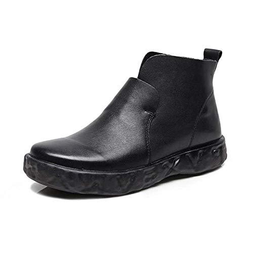 Botines 35 Botas Black Alto 40 Dedo Zapatos Antideslizante Mujer Tamaño Del Botín Martin De Pie Ue Redonda Tacón Casual Corte qAqxFwr4