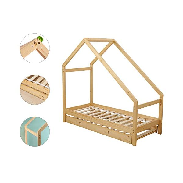 UHOM Children Wood Bed Toddler House Frame Bed Tent Floor Double Bed, Twin Size Bedroom Furniture 3