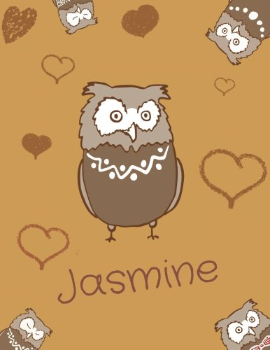 Jasmine: Personalized Jasmine name owl themed notebook, sketchbook or blank book journal. Unique blank owl personalised notebook