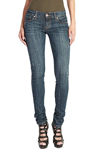 TheMogan Women's Stretch Denim Low Rise 5 Pocket Washed Skinny Jeans Dark 5