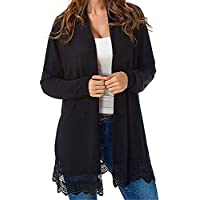 vermers Women Clothes Clearance - Women Kimono Cardigan Lace Tops Casual Long Sleeve Open Front Cardigans Coat