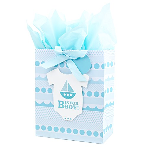 Hallmark Large Gift Bag with Tissue Paper for Baby Showers, New Moms and More (B is for Boy) -