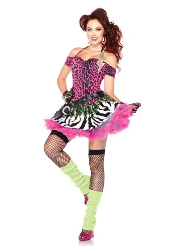 Leg Avenue Costumes 2Pc.Totally 80's Amy Animal Print Dress and Spiked Belt, Pink/Black, Medium/Large