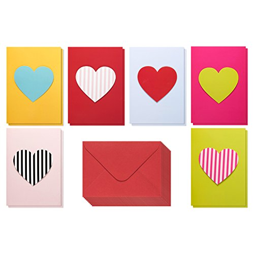 Valentine Cards - 12-Pack - Handmade Love Cards with 6 Contrasting Heart Designs - Includes Envelopes - Romantic Greeting Cards for Valentine's Day, Anniversaries, 5 x 7 Inches Love Card Pack