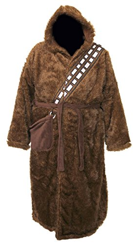 Robe Factory Star Wars Chewbacca Adult Bathrobe & Swim Suit Cover Up Big and Tall, Brown -