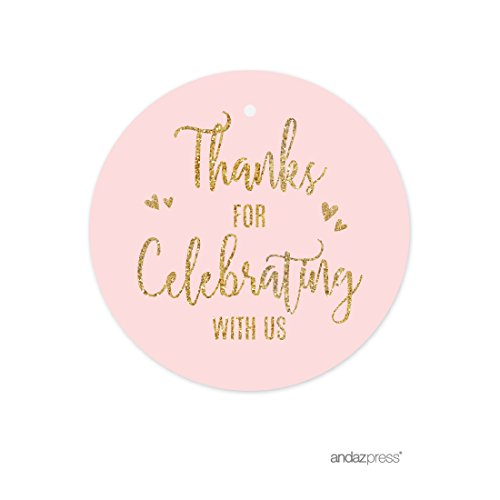 nk Gold Glitter Print Wedding Collection, Round Circle Gift Tags, Thank You for Celebrating With Us, 24-Pack ()