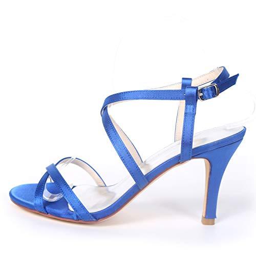 Peep Ivory Del Verano Zapatos Mujeres Las Boda Toe De Hebilla Fy992 Chunky Encaje yc Gatito Talones 5cm L 8 Plataforma SwB7xn