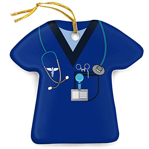 ChalkTalkSPORTS Profession Porcelain Ornament | Medical Services | Nurse Scrubs | -