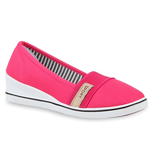 Damen Keilpumps Wedges Canvas Schuhe Pumps Keilabsatz Flandell Pink
