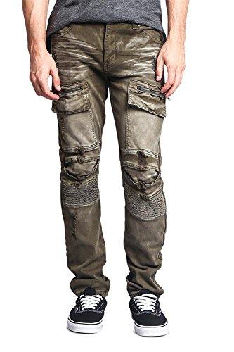 - Men's Faded Zipper Cut Cargo Pocket Layered Knee Ribbed Shin Biker Jeans DL1058 - Olive - 30/30 - CC6H