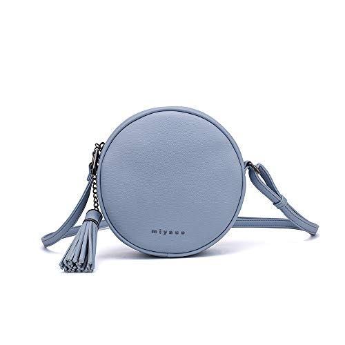 Women's Round Cross-Body Zipper Shoulder Bag Soft Leather circle purses and handbags with Tassel (Blue)