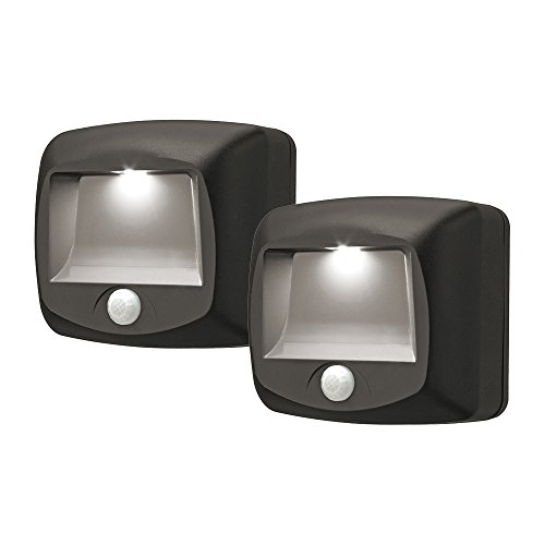 Mr. Beams MB522 Wireless Battery-Operated Indoor/Outdoor Motion-Sensing LED Step/Stair Light, 2-Pack, Brown