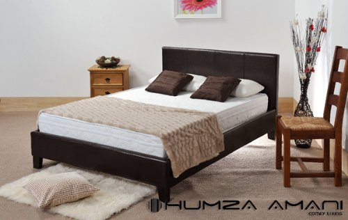 4ft Small Double Brown Faux Leather Prado / Haven Bed by Humza Amani