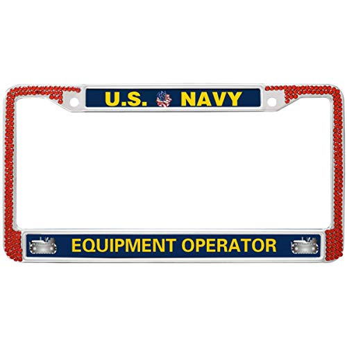 GND US Navy Equipment Operator License Plate Frame Rhinestones Red,United States Navy License Plate Frame Bling Black Black Stainless Steel License Plate Frame for US Canada Cars