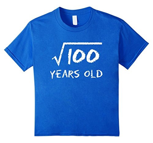 Kids Square Root of 100: 10th Birthday 10 Years Old T-Shirt 12 Royal Blue