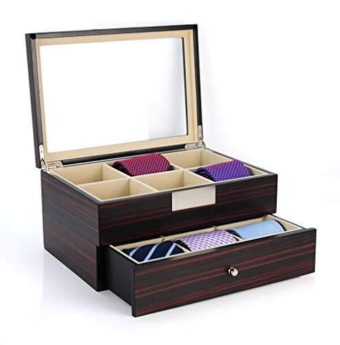 Tie Display Case for 12 Ties Ebony Walnut Two Level Storage Box with Drawer