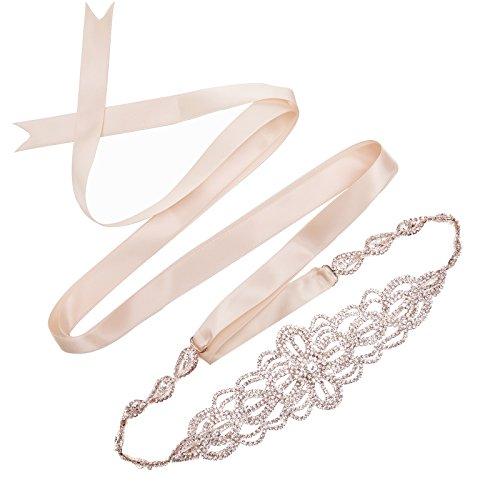 SWEETV Luxury Rhinestone Wedding Belt Bridal Sash Belt Crystal Dress Headband DIY Accessories, Rose Gold