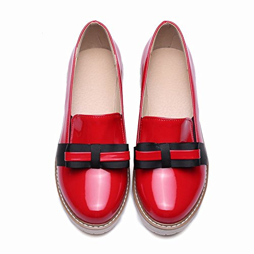 Show Shine Womens Chic Bows Slip Loafers Shoes Rood