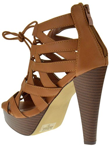 Peep Moda Pumps Strappy Top Lace Tan Table Toe Heel up High 8 a6xCq4w