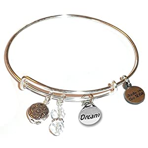 Women's Made In USA Stainless Steel Message Charm Expandable Wire Bangle Bracelet, Popular, Stylish and Trendy, Arrives…