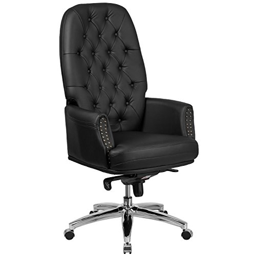 - Flash Furniture High Back Traditional Tufted Black Leather Multifunction Executive Swivel Chair with Arms