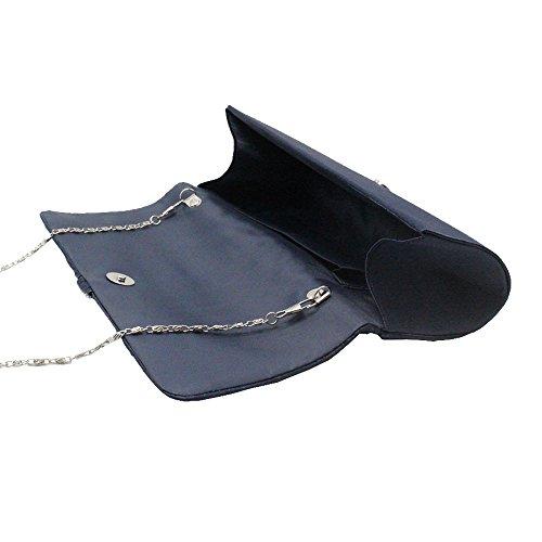 Crystal Elegant navy Center Wiwsi Medallion Evening Clutch Bagwhite Handheld Satin Pleated blue xtWBBn7