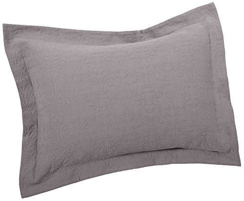 Jacquard Standard Sham (Pinzon Ivy Matelasse Cotton Sham, Standard, Dove Grey)
