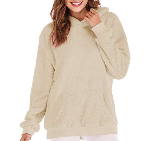 Tops Manica Felpe Maglione Hoodies Tenere e Inverno Lunga Bluse Sweatshirt Moda Quotidiani Caldo Autunno Cime Casual Lanugine Maglie a Donne con Cappuccio Pullover C7q1n