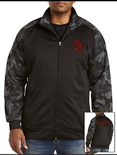 Detroit Tigers Hooded Jacket - VF Detroit Tigers MLB Majestic Mens Synthetic Full Zip Camouflage Track Jacket Black Big & Tall Sizes (6XL)