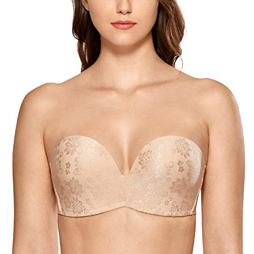 DELIMIRA Women's Slightly Lined Lift Great Support Jacquard Strapless Bra Plus Size Beige_Jacquard 32DD