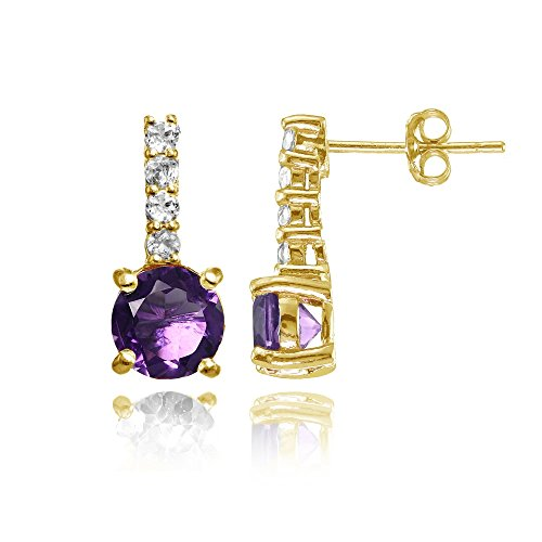 Yellow Gold Flashed Silver African Amethyst & White Topaz 5-Stone Drop Earrings ()