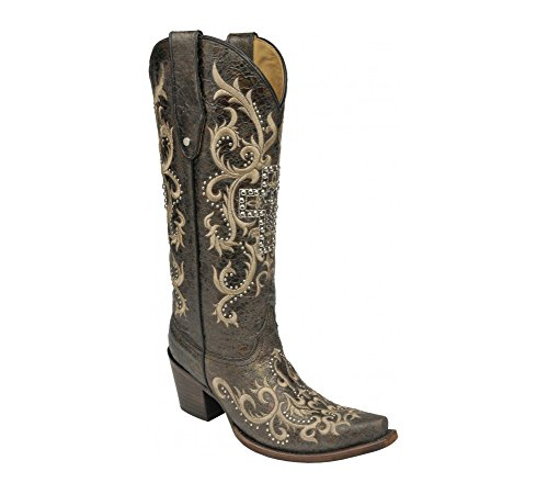 CORRAL New Women's C2873 Studded Cross Tall Top Western Boot Black/Silver 9.5 ()