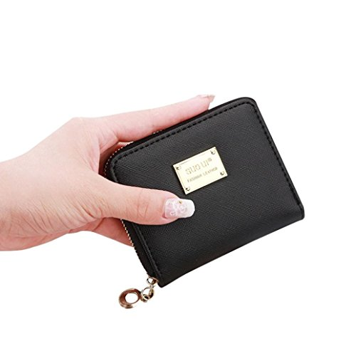 GBSELLL Fashion Women Leather Small Wallet Zip Coin Purse Handbag (Black)