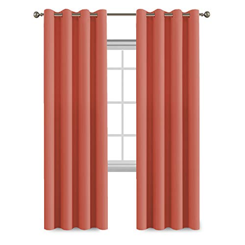 Flamingo P Thermal Insulated Curtain Drapes and Heating Against Grommet Top Room Darkening Curtains/Drapers, One Panel 84 by 52 inch -Coral