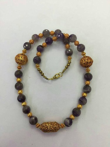 Afghan Gold Plated Beads with Natural Amethyst Necklace Ethnic Regional Tribal Vintage Gypsy Hippie
