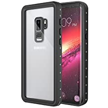 Samsung Galaxy S9 Plus Waterproof Case, MoKo Ultra Protective Case with Built-in Screen Protector, Shock-absorbing Bumper Submersible Full-body Cover for Galaxy S9+ 6.2 Inch 2018, Black + Grey