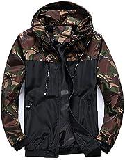 imidol Mens Camouflage Lightweight Waterproof Windproof Jacket Casual Outdoor Sports Jacket Coat with Hood