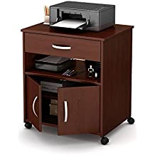 South Shore 2-Door Printer Stand with Storage on Wheels, Royal Cherry