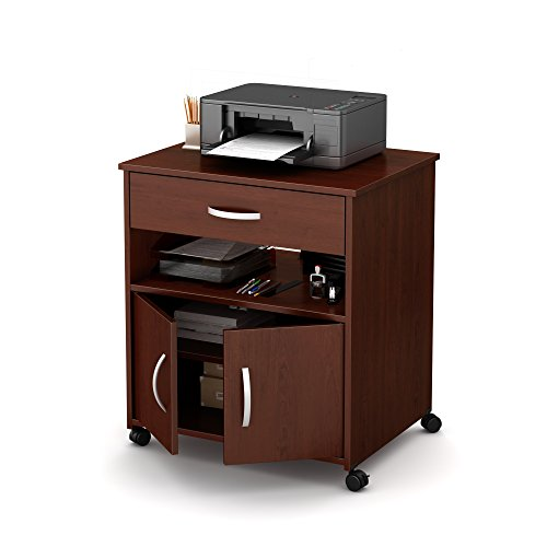 South Shore 9052691 2-Door Printer Stand with Storage on Wheels, Royal Cherry